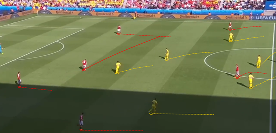 Xhaka constantly dropping between his centre-backs was a very common build-up pattern, and it was easy for Romania to both read and adapt to. In most cases the Swiss defenders never made the most of being the spare man, anyway.