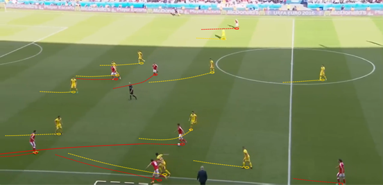 It wasn't a surprise that Switzerland looked more threatening when Xhaka began to take up more advanced, wider positions in possession, allowing him to get between the lines and pass it directly into his side's attackers.