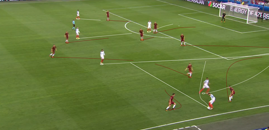 England's combination play down their right side was their most effective attacking method, with Lallana drifting inside and Walker maintaining the width. That positioning allowed both of them to be available passing options on a number of occasions, for teammates as well as to each other. That's shown here, as Walker's overlap is found by Dele Alli – and the right-back ends up cutting the ball back to Lallana whose clever run from the right leaves him in space inside the box. He ended up dragging his shot wide of the far post, however.