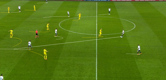 Kroos dropping towards the centre-backs and dictating the game from there was a common sight, and without Ukraine pressuring him too much it meant that he was able to pick out vertical passes at ease. Effective attacking movement in front of him enabled that too, meaning German players could be free between the lines to receive passes.