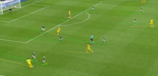 A lot of the time when Konoplyanka got the ball on the flanks, the Northern Ireland players on his side of the pitch would double-up on him – like here – so as to not give him any time or allow him to cut infield.