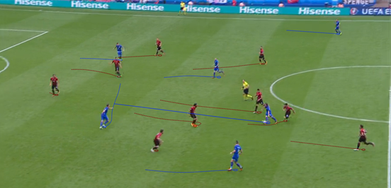 The ball-playing ability of Modrić and the intelligence of Rakitić ahead of him meant that the two were often able to work together to progress the ball, the former playing it through the lines here for the latter to turn and run towards a central zone in space.