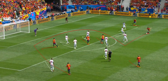 Silva's drifting movements from the right side meant that Spain didn't always use that flank to its full potential, in terms of stretching the Czech Republic, but at the same time he was one of their most inventive players; shown by his delicate chipped pass over the top into Alba. This was one of the many occasions before the goal where Spain couldn't quite convert their chances, though.