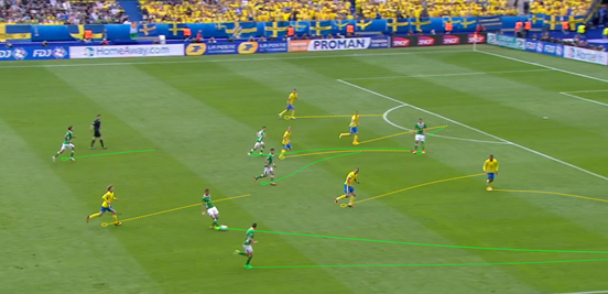 Ireland used their full-backs to good effect in the first-half, using them to provide the width and also then open up space in the middle of the field for their midfielders at times.