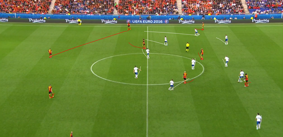 Italy's defensive shape worked to great effect against Belgium, with superb ball-orientation and midfield coverage preventing them from properly progressing the ball. It was usually in a 5-3-2 shape, although there was flexibility in the positions of the midfielders who at times would step up into the first line of pressing.