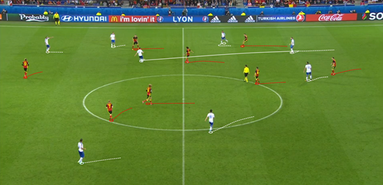 When Italy had the ball they regularly looked to move it quickly up the field, especially after they first won it, and Belgium's lack of structure in transitions made that easy for them to do. In this instance they ended up scoring their second goal from it.