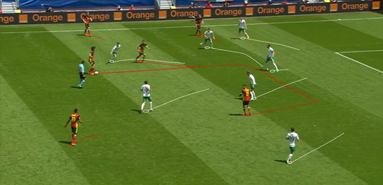In general Ireland did a decent enough job of plugging the middle of the pitch, although after coming from wider positions Belgium did manage to have some joy. It was most common that this happened on the left, with Hazard moving infield into the left half-space and looking to take people on.