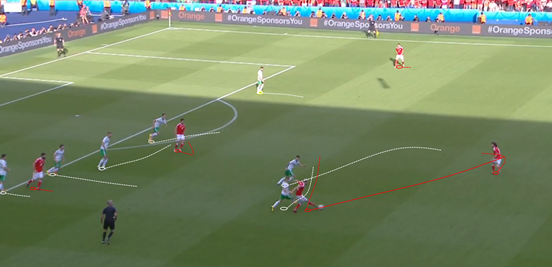Poor occupation of space in the final third from Wales, shown here by the lack of passing options for Allen (other than the wing-back) and nobody in the far-side half-space, was very problematic in their attempts to break down Northern Ireland.