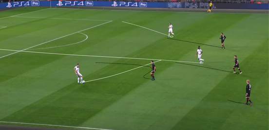 Leverkusen's high press was extremely effective for large periods of the game, making it very tough for Spurs to move the ball forwards. With Hernández and Mehmedi pressing the two centre-backs here, and Aránguiz having stepped up to stop Wanyama from receiving the ball in space, Wanyama is forced to play a pass back to his goalkeeper.