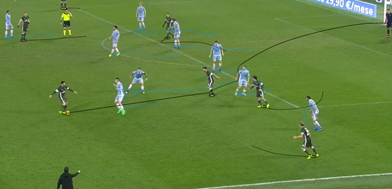 Suso's superb individual goal against Lazio came after he drifted into the half-space on the right side of the field to receive a clever vertical pass. Keeping his body open upon getting the ball, the Spaniard span into the box, avoiding the legs of the trio of players who cautiously tried to steal possession off of him before curling neatly into the corner.
