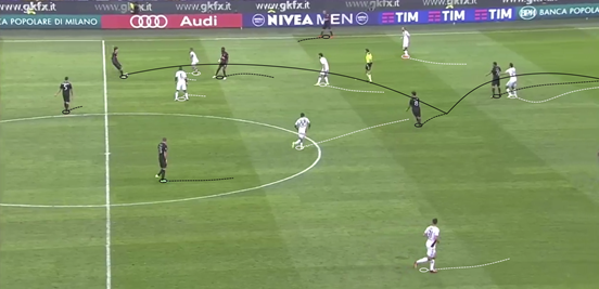 One of the most notable facets of Suso's game is his ability to get the ball out of his feet quickly and then either carry it forward or pass it. Here he does the latter, taking a direct ball into his stride and then using his next touch to delicately loft it beyond the defence for his striker to run onto.