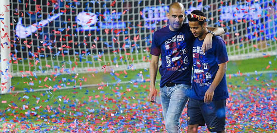 Guardiola and Thiago go back a long way - having worked together for a number of years in their native Spain before then both moving to Bayern at the same time.