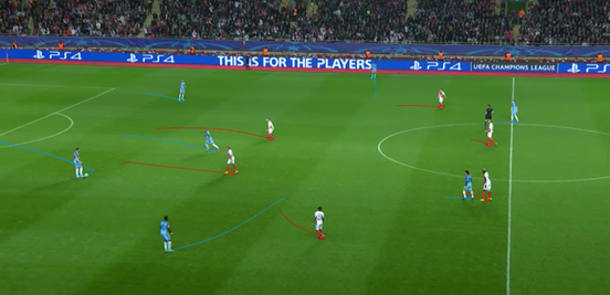 The basic starting shapes of the two teams during City's build-up phase were just like this, although it does demonstrate the movements that the away side made to alter their structure too. When Fernandinho dropped, Sagna would drift into midfield and the two centre-backs would split. Monaco's man-orientation on De Bruyne and Silva higher up the pitch can also be seen.