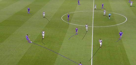 Juventus' rough 4-4-1-1 shape was extremely effective in the opening 45 minutes, with their positioning and intensity proving a key factor in stopping Madrid from controlling the midfield zones.