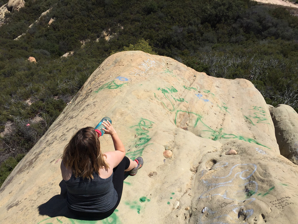 Sitting on top of the Jim Morrison Cave in Malibu, CA