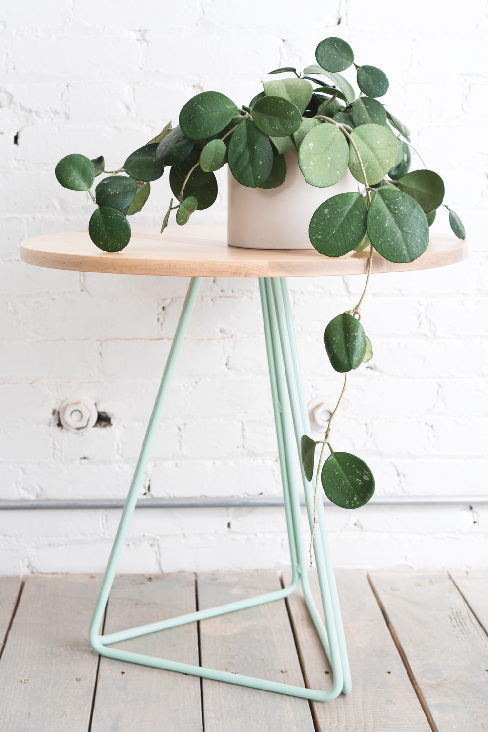Maple + Mint Metal Side Table