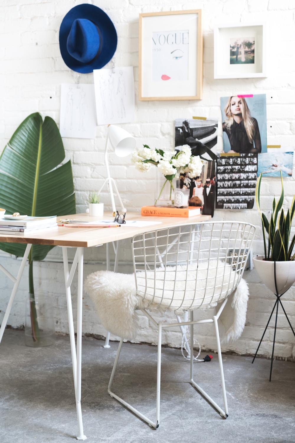 Maple + White Metal Desk