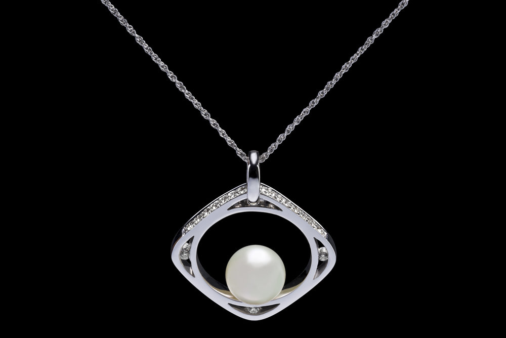 Diamond & Pearl Silver Necklace