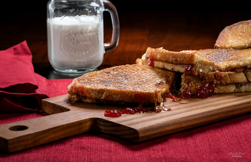 Grilled Peanut Butter & Jelly Sandwich by Arizona Commercial Food Photographer Chad J Weed