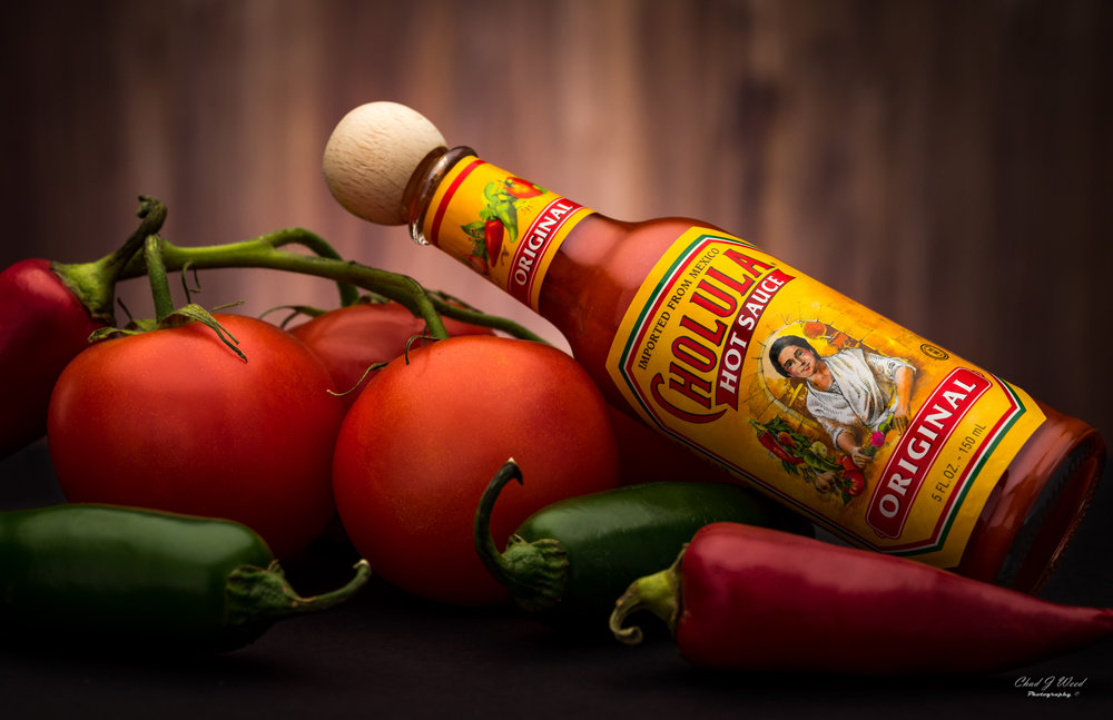Bottle of Cholula Hot Sauce by Arizona Commercial Food Photographer Chad J Weed