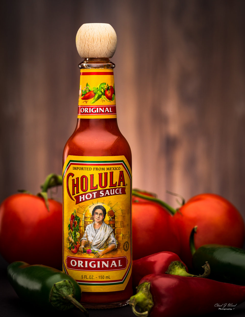 Original Cholula Hot Sauce Bottle by Arizona Commercial Food Photographer Chad J Weed