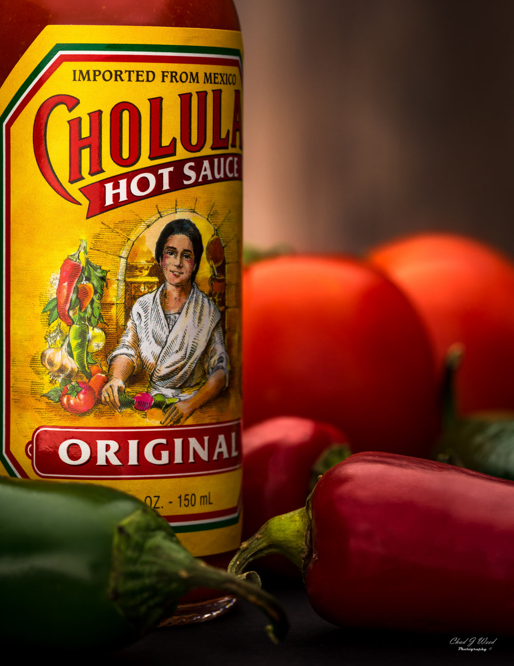 Cholula Hot Sauce Bottle Label by Arizona Commercial Food Photographer Chad J Weed