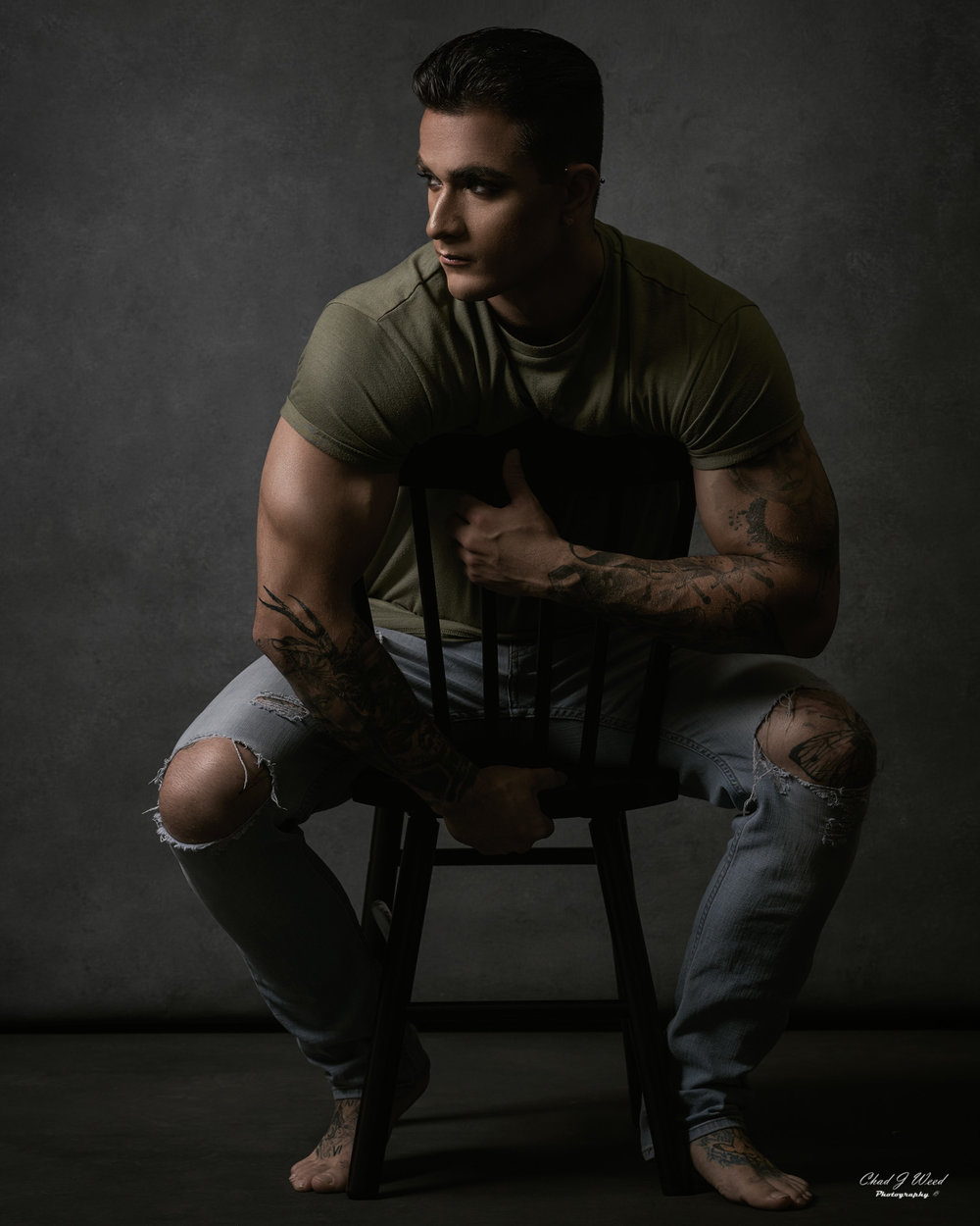 Arizona Glamour Portrait Photographer Chad Weed with Glam Fitness Model Isaac