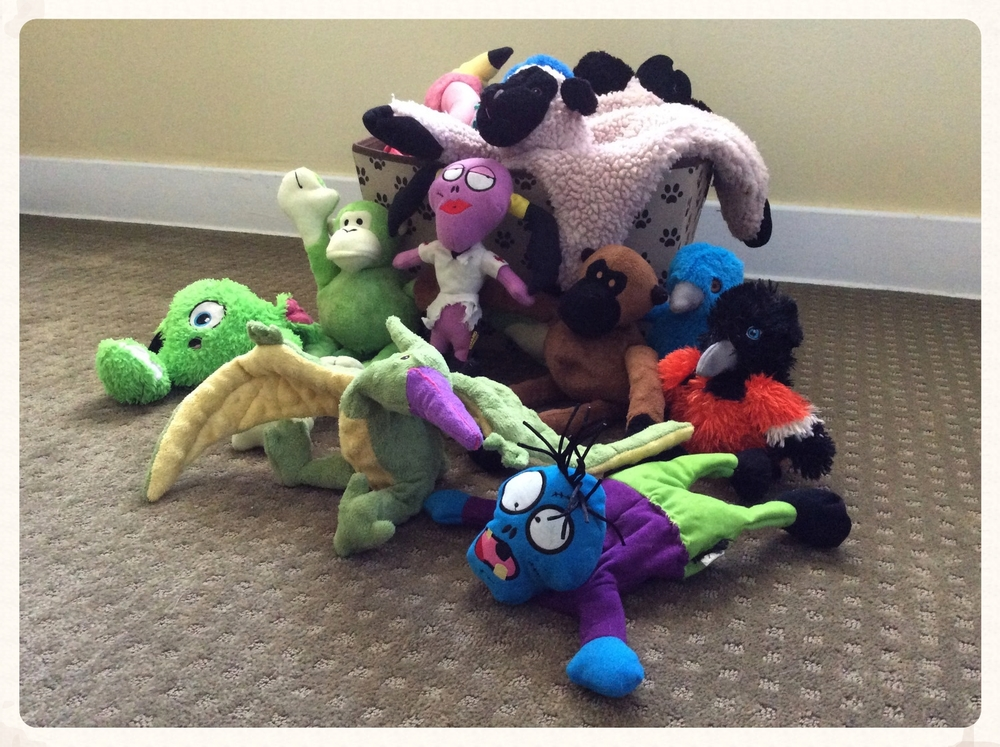 Some of our many goDog plush toys