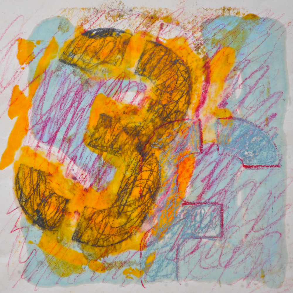 The 3s Have It encaustic, monotype & mixed media on paper, 8x8""
