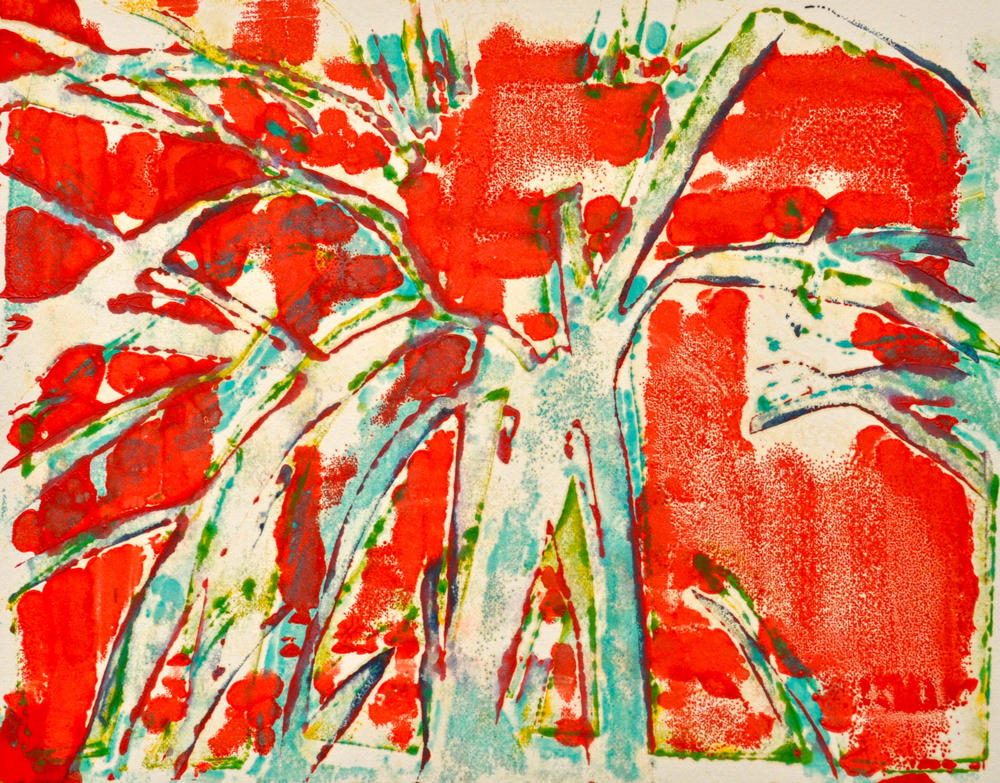 Grass 1 encaustic, monotype & mixed media on paper, 8x10""