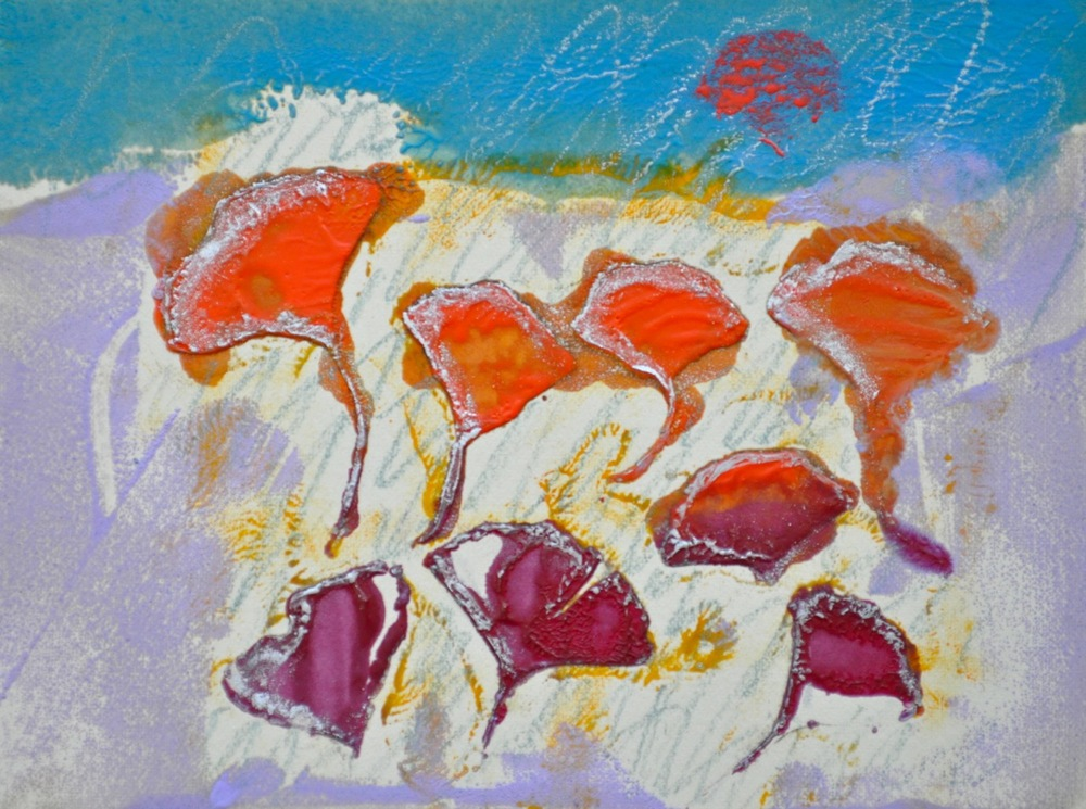 Ginko Dance encaustic, monotype & mixed media on paper, 8x6""