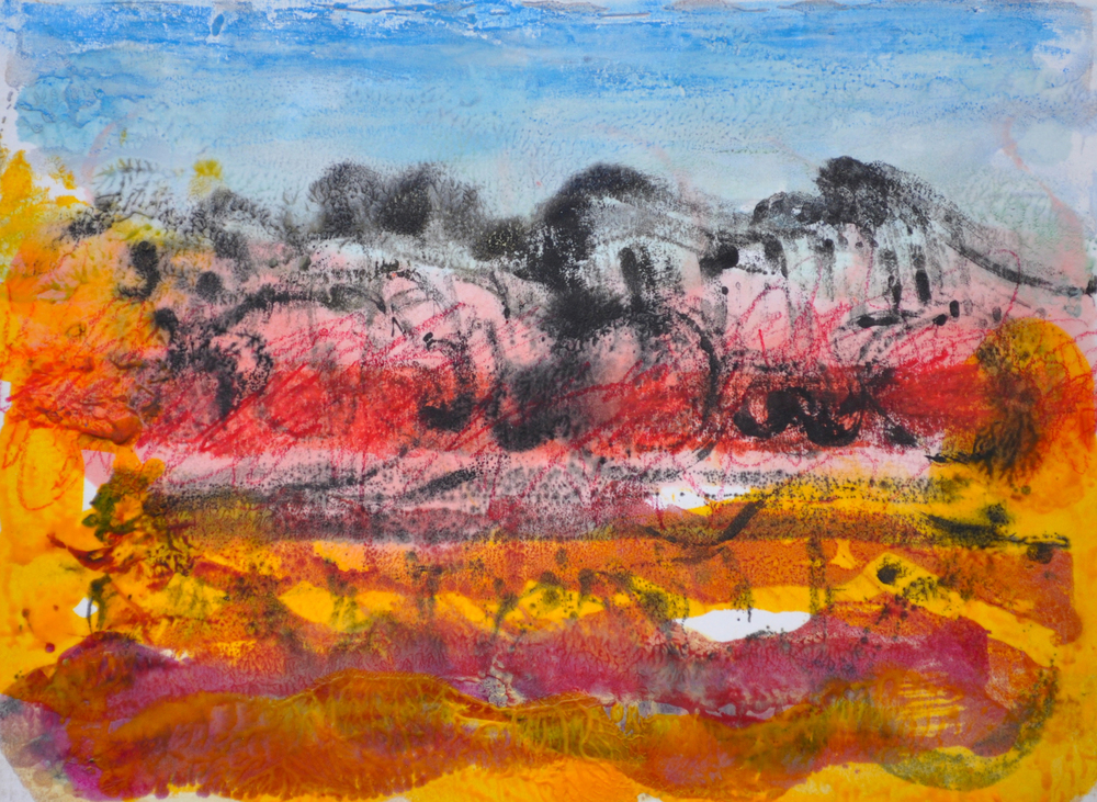 Rolling Landscape encaustic, monotype & mixed media on paper, 8x6""