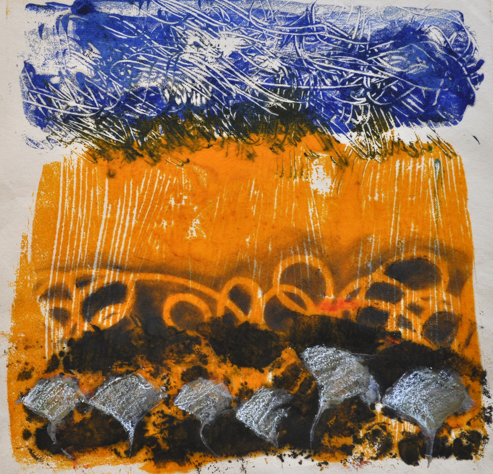 Storm 2 encaustic, monotype & mixed media on paper, 10x10""