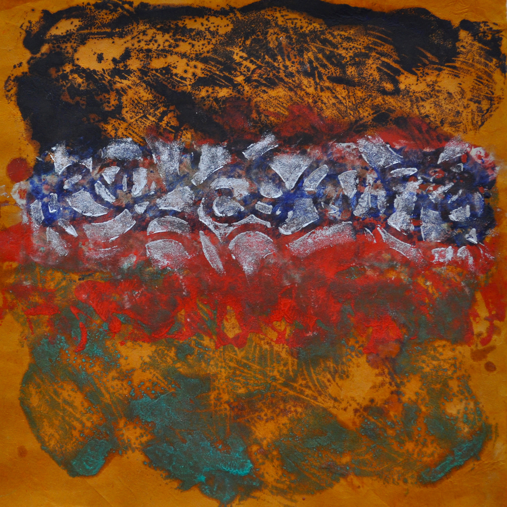 Storm 3 encaustic, monotype & mixed media on paper, 10x10""