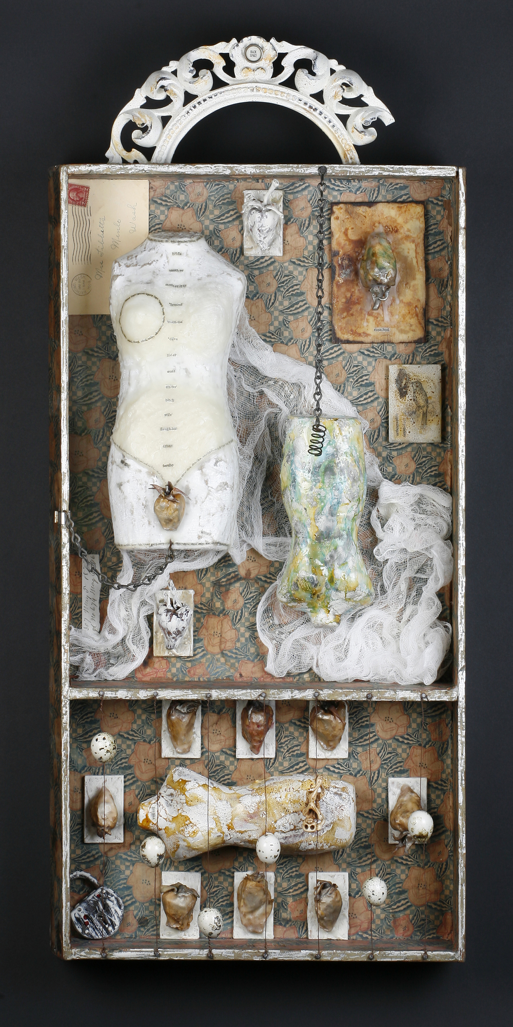 By Definition-Collection of the Artist found objects, encaustic & mixed media, 15x34x5""
