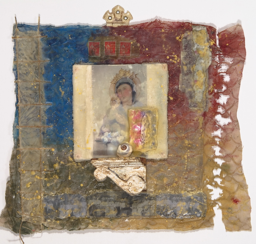 Mary with Blue and Red-SOLD encaustic, mixed media & found objects, 21x17x3""