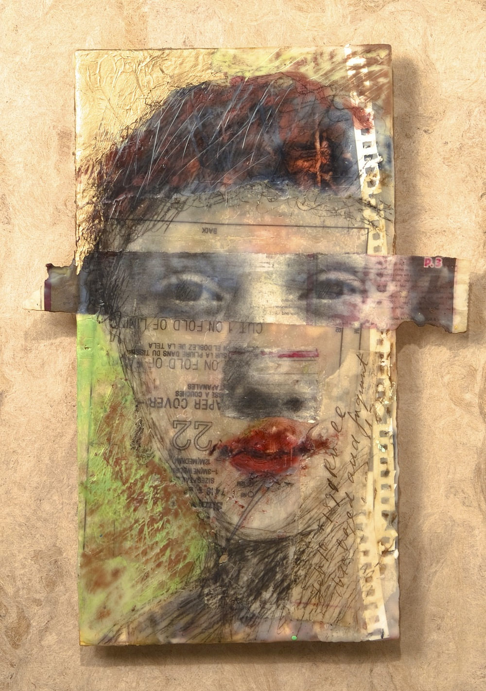 Modern Portrait of an Ancient Face encaustic & collage, 16x21""