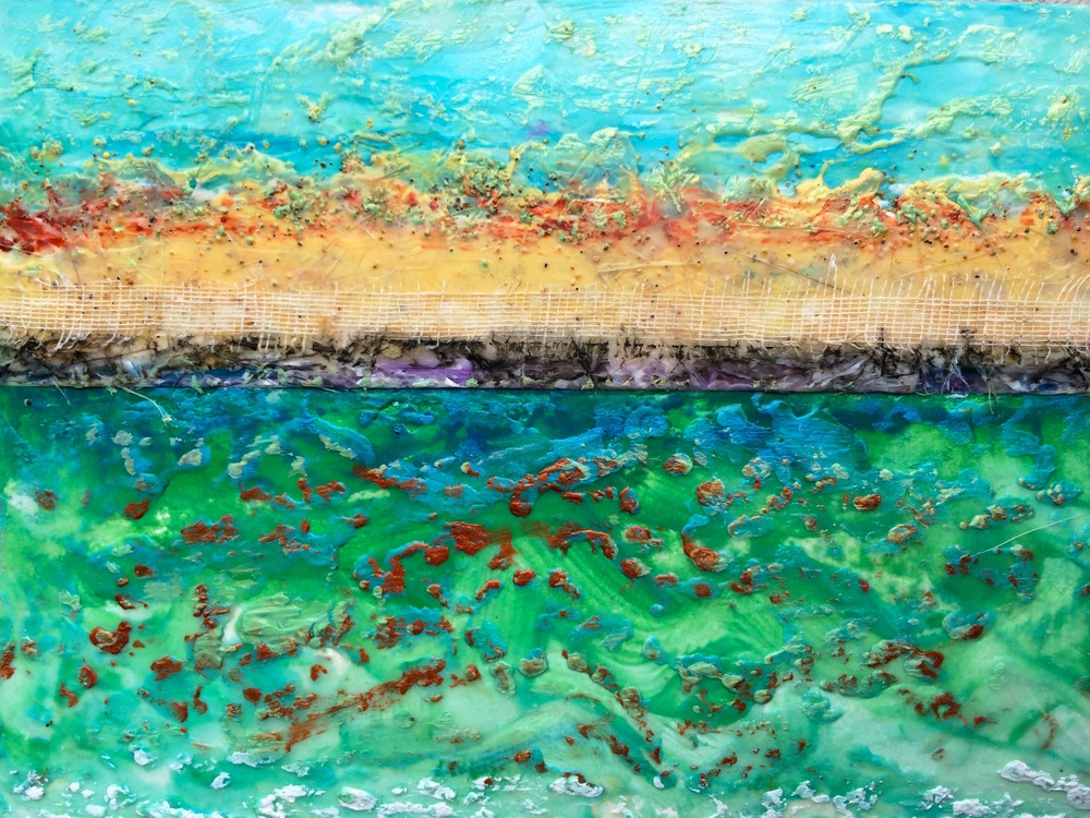 Kaanapali 1-SOLD encaustic & mixed media, 7x5""