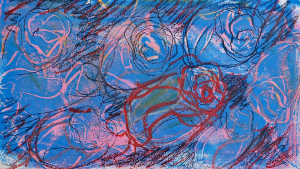 Roses of San Miguel 2 encaustic, monotype & mixed media on paper, 13x7""