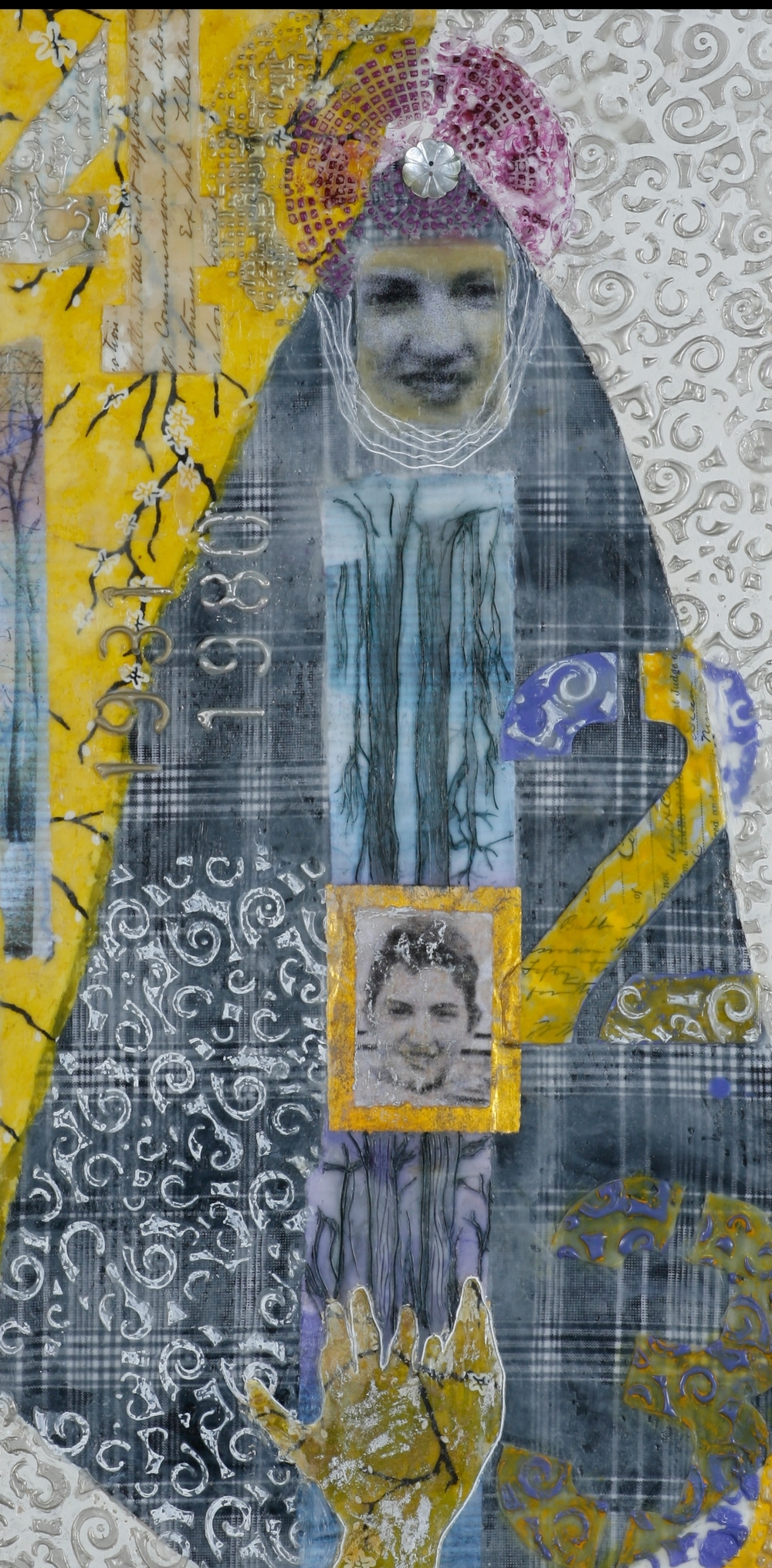 Marilyn encaustic, mixed media & collage, 12x24""