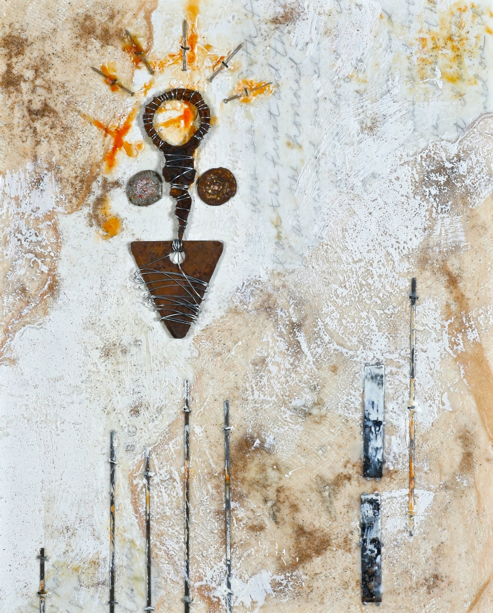 I Was Sent Forth encaustic, metal & sand, 16x24""
