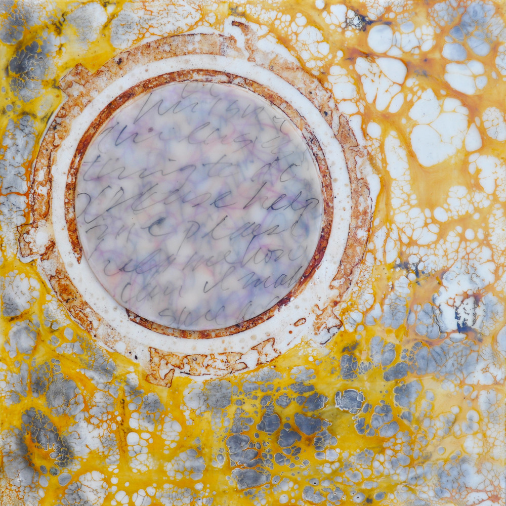 Wishing Well encaustic, rust, ink & shellac, 10x10""