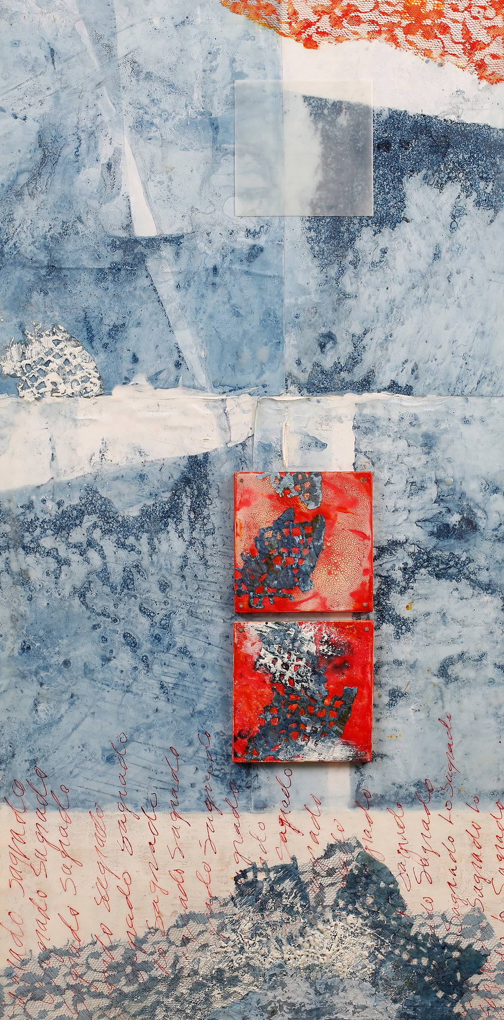 Lo Sagrado (The Sacred...Place) encaustic, indigo-dyed paper, ink, 15x30""