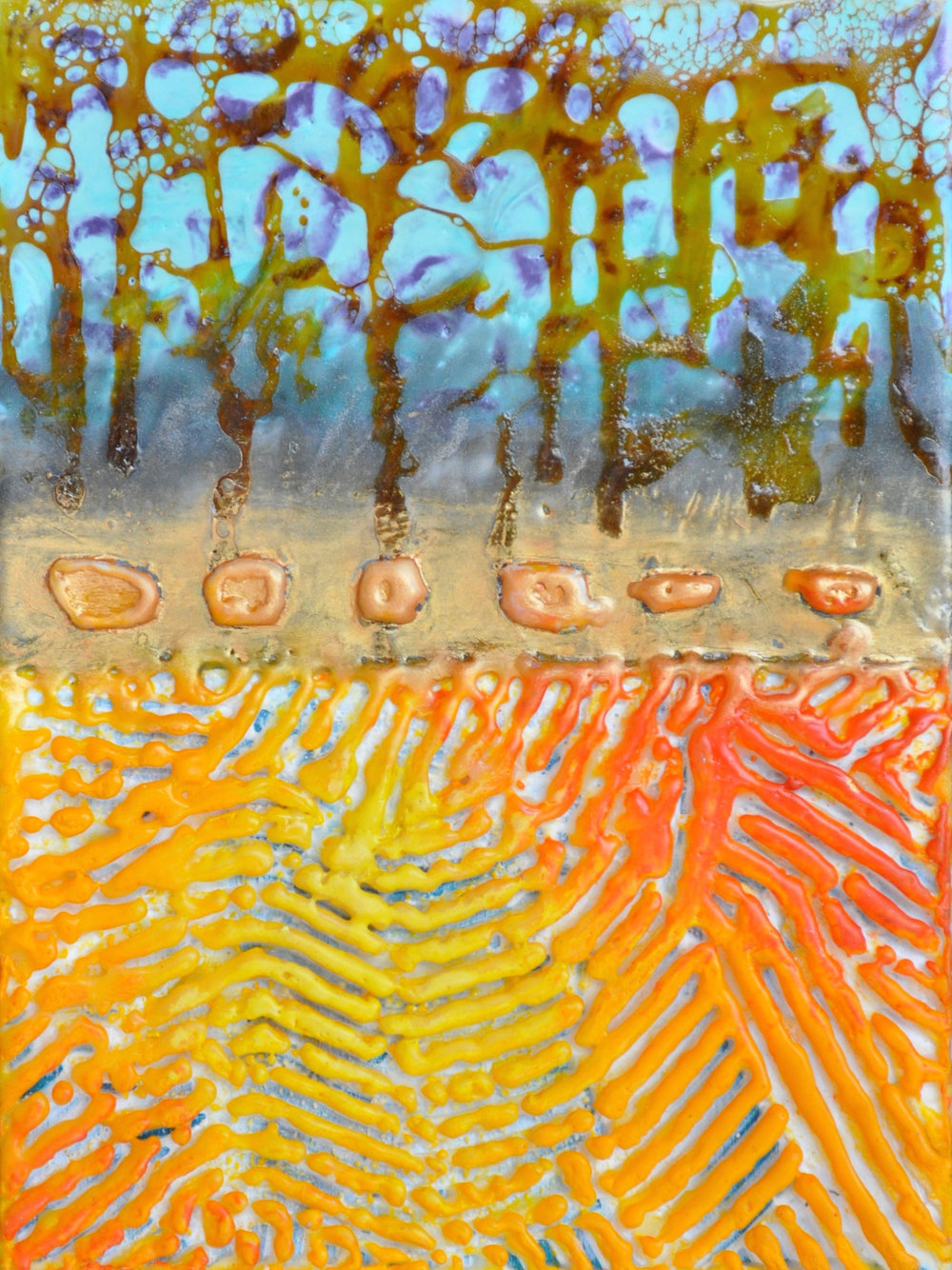 Norte y Sur (North and South) encaustic, mixed media, 6x8""