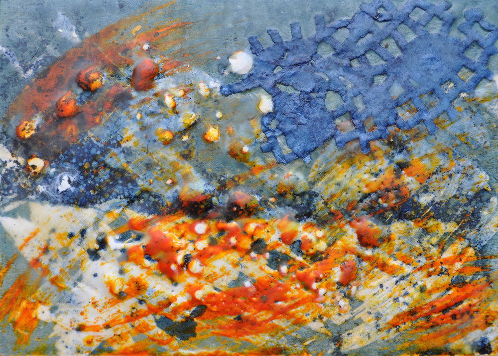 La Alborada #1 (The Dawn #1) encaustic, indigo-dyed paper, 7x5""