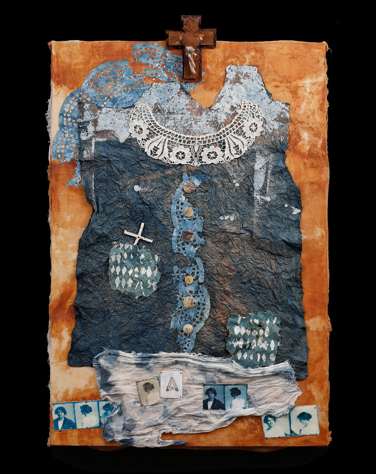 Azulita (Little Blue) indigo-dyed fabric, paper, rust, beeswax, 18x24""