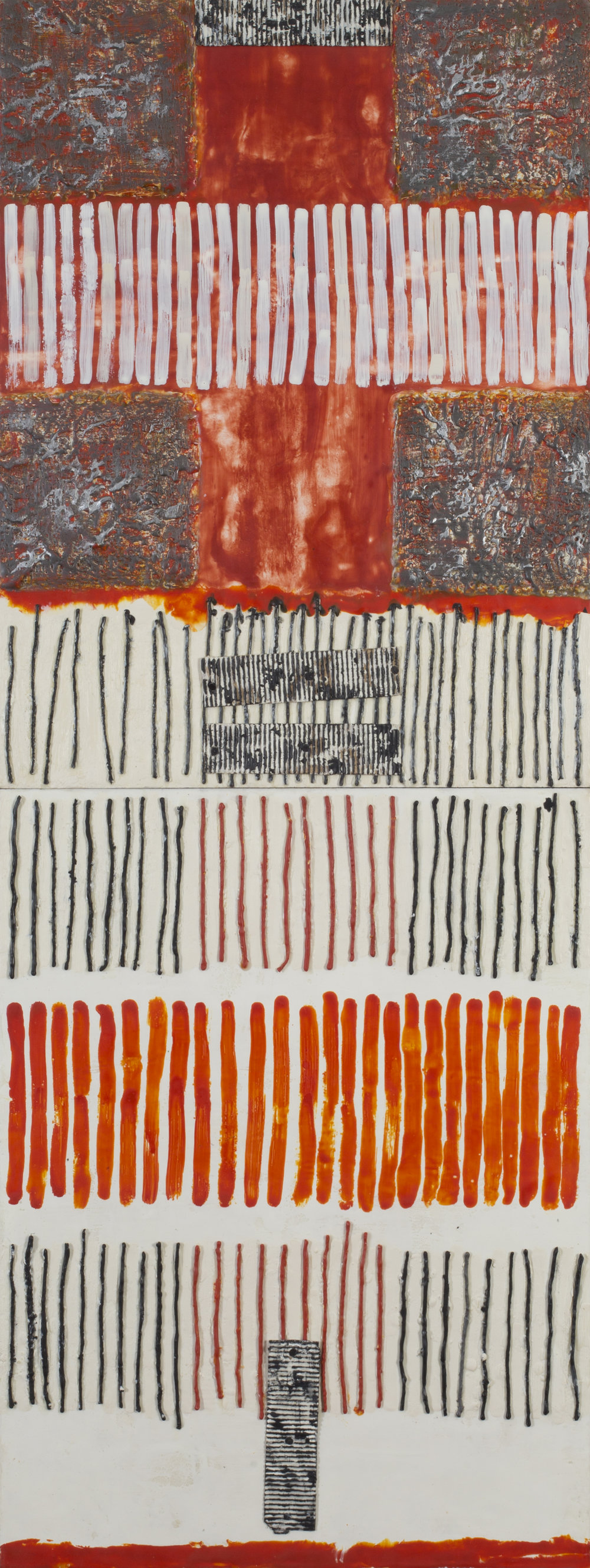 Cruciform: Study in Orange, Black & White encaustic, string, cardboard, 18x48""