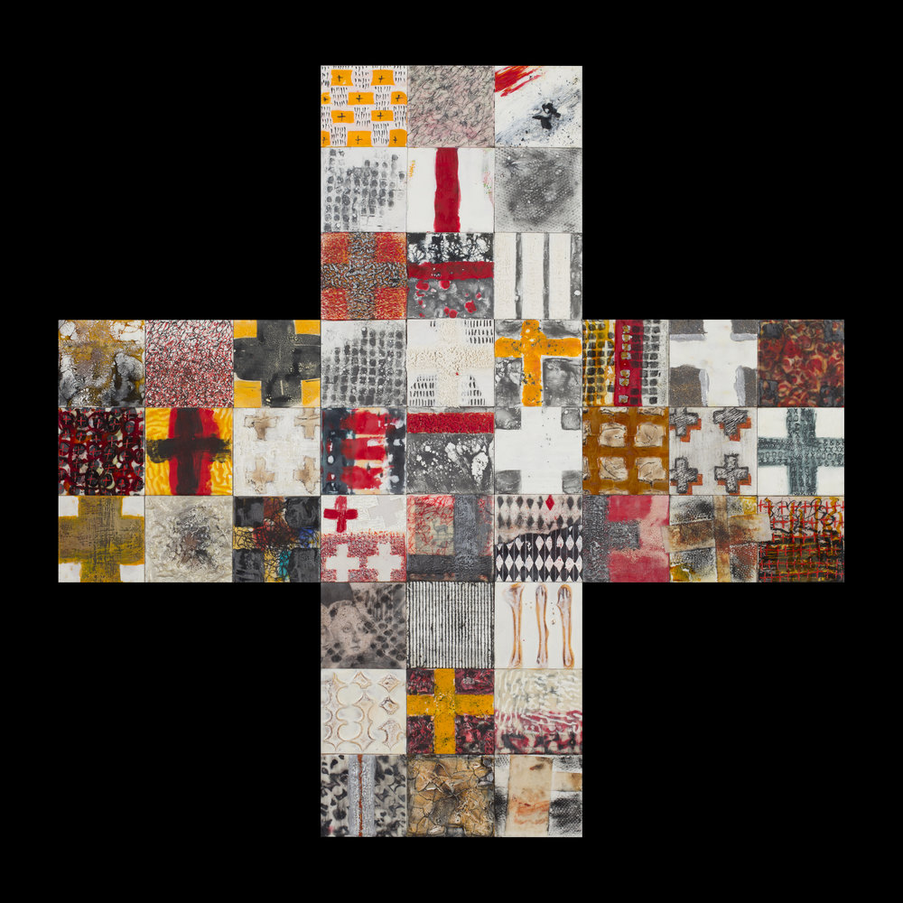 "cruciform construction: forty-five make one 45 encaustic & mixed media 4"" panels, assemblage, 36x36"""