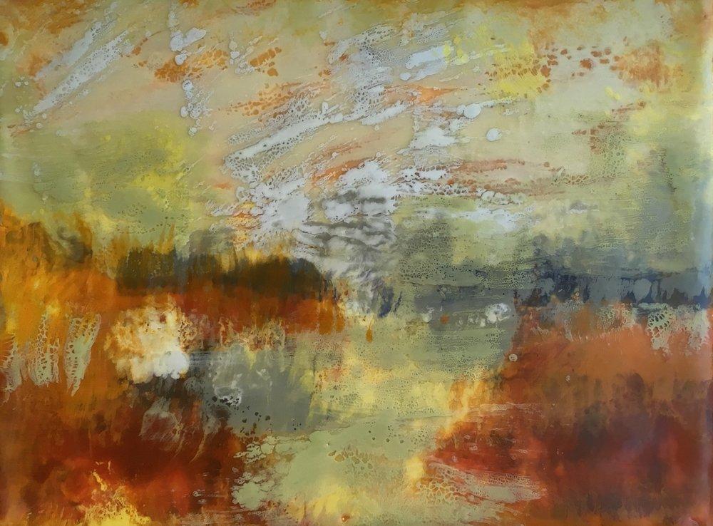 """Ode to Turner #2 encaustic, 8x6"""""""