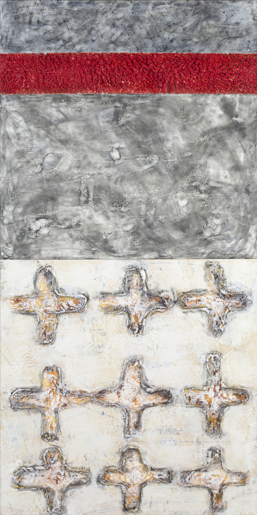 Cruciform Deconstruction 1 encaustic, graphite, wood glue, sewing patterns, 24x48""